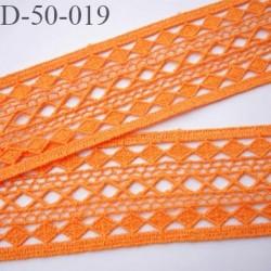 Dentelle galon crochet 50 mm couleur orange lumineux très douce largeur 50 mm prix au mètre