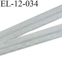 Elastique pré plié 12 mm  lingerie couleur argent brillant  largeur 12 mm prix au mètre
