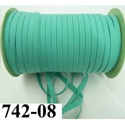 élastique plat largeur 8 mm couleur vert cannard  prix pour 1 mètre de longueur
