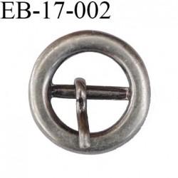 Boucle métal 11 mm couleur étain  très belle avec ardillon diamètre extérieur 17 mm passage intérieur 11 mm