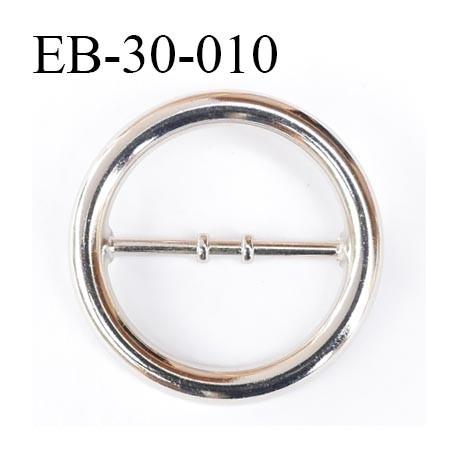 Boucle métal 31 mm couleur chromé avec barre au milieu diamètre extérieur 42 mm passage intérieur 31 mm
