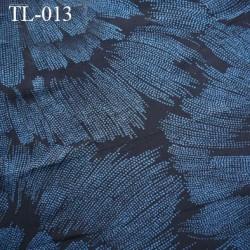 Tissus lycra spécial lingerie haut de gamme couleur noir et bleu motif fleur largeur 160 cm poids au m2 170 grs prix au ml