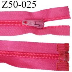 fermeture éclair longueur 50 cm couleur rose fushia séparable largeur 3 cm  zip nylon largeur 6 mm