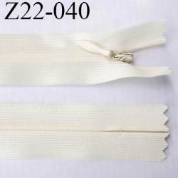 fermeture 22 cm zip à glissière invisible  longueur 22 cm largeur 2.5 cm couleur écru non séparable glissière 4 mm