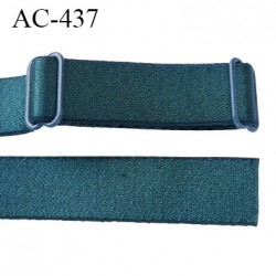 Bretelle 16 mm lingerie SG couleur vert ou fleur de lagune brillant haut de gamme finition 2 barettes  prix a la pièce