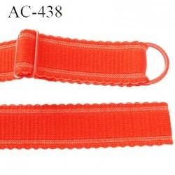 Bretelle 20 mm lingerie SG couleur corail ou garance brillant haut de gamme finition avec 1 barettes + 1 anneau prix a la pièce
