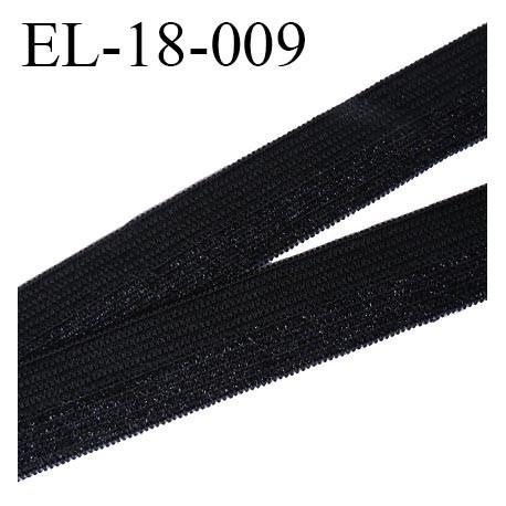 Elastique 18 mm couture pré plié couleur noir avec sur un coté de la bande reflets argenté brillant largeur 18 mm prix au mètre