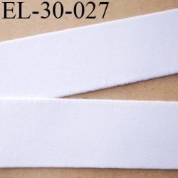 élastique 30 mm aspect velours spécial lingerie et sport très belle qualité couleur blanc doux certifié oeko tex prix au mètre