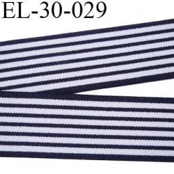 élastique 30 mm aspect velours spécial lingerie et sport très belle qualité couleur marine blanc certifié oeko tex prix au mètre