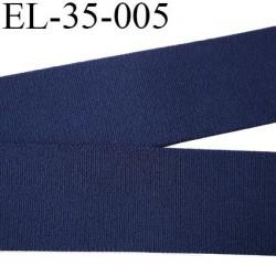 élastique 35 mm aspect velours spécial lingerie et sport très belle qualité couleur marine  doux certifié oeko tex prix au mètre