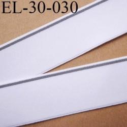 élastique 30 mm aspect velours spécial lingerie et sport très belle qualité couleur blanc et gris  oeko tex prix au mètre