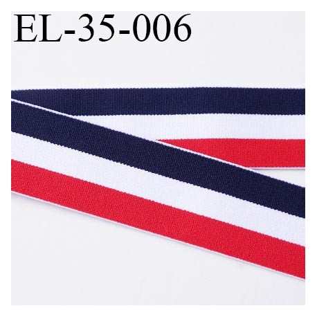 élastique 35 mm aspect velours spécial lingerie , sport très belle qualité bleu blanc rouge doux certifié oeko tex prix au mètre