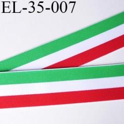 élastique 35 mm aspect velours spécial lingerie , sport très belle qualité vert blanc rouge doux certifié oeko tex prix au mètre