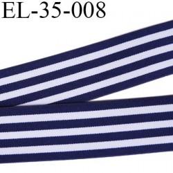 élastique 35 mm aspect velours spécial lingerie, sport très belle qualité bleu marine blanc doux certifié oeko tex prix au mètre