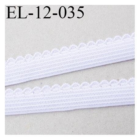 élastique picot  12 mm couleur blanc largeur de bande 10 mm largeur de boucle 2 mm prix au mètre