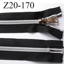 fermeture zip 20 cm noir avec glissière nylon argenté  largeur 3.3 cm largeur de la glissière 6.4 mm curseur en métal