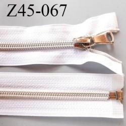 fermeture zip 45 cm blanc séparable avec glissière nylon argenté  largeur 3.3 cm largeur de la glissière 6.4 mm curseur en métal