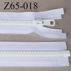 fermeture YKK zip 65 cm couleur blanc séparable largeur 3 cm glissière moulé nylon largeur 6.6 mm curseur métal longueur 65 cm