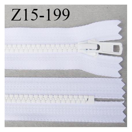 fermeture YKK 15 cm non séparable largeur 33 mm  glissière moulé 6.6 mm couleur blanc longueur 15 cm