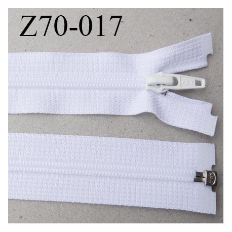 fermeture YKK zip 70 cm séparable largeur 30 mm  largeur de la  glissière nylon 4.2 mm couleur blanc YKK longueur 70 cm