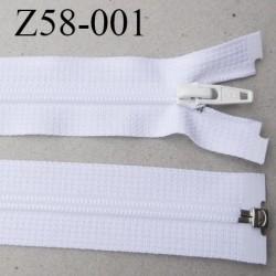 fermeture YKK zip 58 cm couleur blanc séparable largeur 3 cm glissière  nylon largeur 4.2 mm curseur métal longueur 58 cm