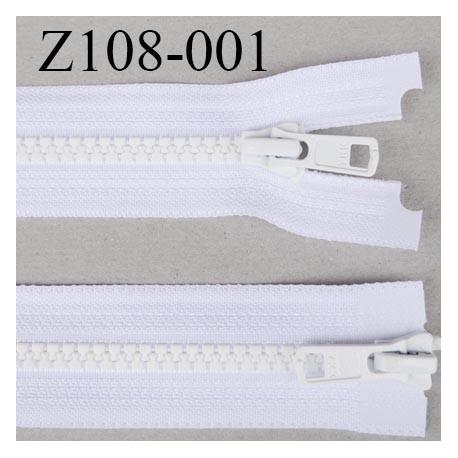 Z108-001  fermeture YKK 108 cm double curseur séparable largeur 33 mm largeur de la  glissière moulé 6.6 mm couleur blanc YKK