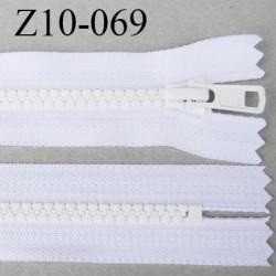 fermeture YKK 10 cm non séparable largeur 33 mm  glissière zip moulé 6.6 mm couleur blanc longueur 10 cm