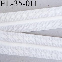 élastique 35 mm plat fronceur ou à smock souple couleur blanc avec cordon intérieur 5 mm noir largeur 35 mm  prix au mètre