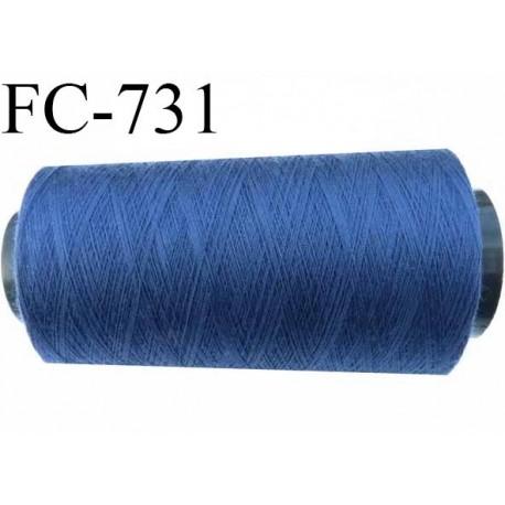 Cone de fil  1000 mètres  polyester fil n° 50 couleur bleu longueur 1000 mètres bobiné en  France