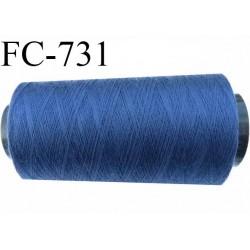 Cone de fil  2000 mètres  polyester fil n° 50 couleur bleu longueur 2000 mètres bobiné en  France
