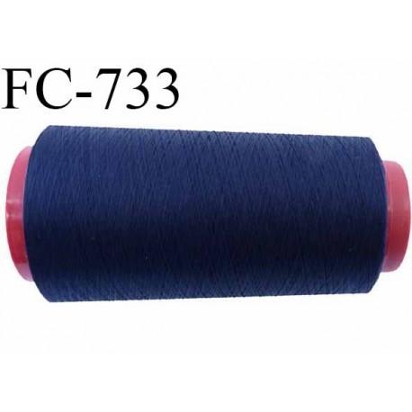 Cone de  fil 5000 m polyester fil n° 50 couleur bleu marine longueur 5000 mètres bobiné en  France