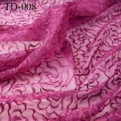 dentelle brodé  sur tule extensible couleur violet très haut de gamme largeur 135 cm  prix pour 10 centimètres