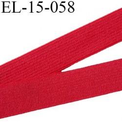 Elastique 15 mm  plat souple couleur rouge agréable au touché largeur 15 mm prix au mètre