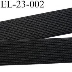 Elastique 23 mm  plat souple couleur noir largeur 15 mm prix au mètre