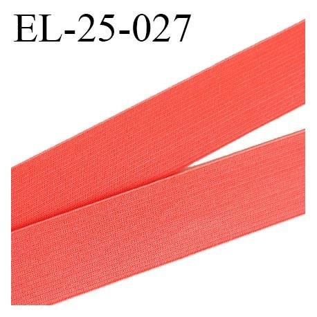 Elastique 25 mm couleur corail lumineux agréable au touché largeur 25 mm prix au mètre