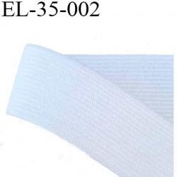 élastique plat très belle qualité couleur blanc largeur 35 mm plus souple que la référence EL-35-001 prix au mètre