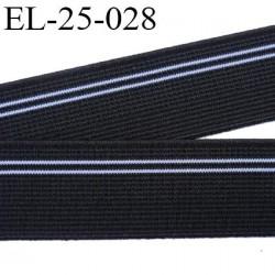 Elastique 24 mm couleur noir avec  liseret gris agréable au touché largeur 24 mm prix au mètre