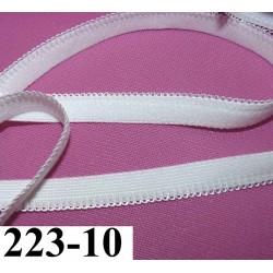 élastique plat largeur 10 mm couleur blanc boucle style dentelle  vendu au mètre