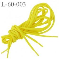 Lacet rond 60 cm couleur jaune canari diamètre 3 mm longueur 60 cm embout gainé  plastique transparent prix pour une paire