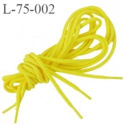 Lacet rond 75 cm couleur jaune canari diamètre 3 mm longueur 75 cm embout gainé  plastique transparent prix pour une paire