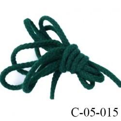 cordon synthétique  souple et doux très solide couleur vert bouteille diamètre 5 mm prix au mètre