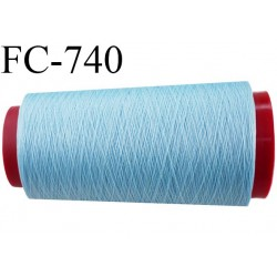 Cone 1000 m fil mousse polyester n°110 couleur bleu ciel longueur 1000 mètres bobiné en France