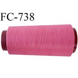 Cone 1000 m fil mousse polyester n°110 couleur rose malabar longueur  1000 mètres bobiné en France