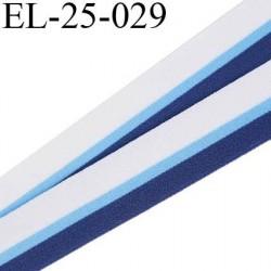 Elastique 24 mm couleur blanc bleu ciel et bleu foncé doux et agréable au toucher oeko tex  largeur 24 mm prix au mètre