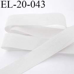 Elastique 20 mm plat très  belle élasticité couleur blanc largeur 20 mm prix au mètre
