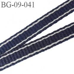 galon sangle 9 mm très très solide couleur bleu marine avec liseret gris largeur 9 mm prix au mètre