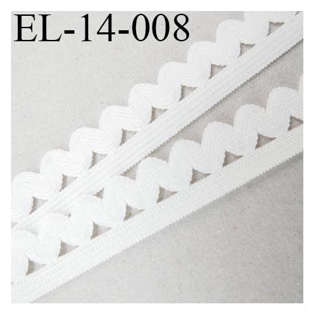 élastique 14 mm plat picot lingerie  couleur écru 5 mm de bande et 9 mm de picot prix au mètre