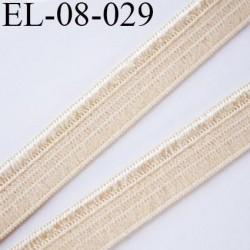 élastique 8 mm plat souple couleur  beige avec une bordure brillante largeur 8 mm  prix  au mètre