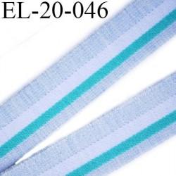Elastique 22 mm  plat souple et doux  couleur bleu clair blanc lagon largeur 22 mm prix au mètre