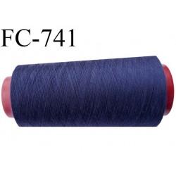 Cone 1000 m fil mousse polyester n°160 couleur bleu foncé longueur 1000 mètres bobiné en France
